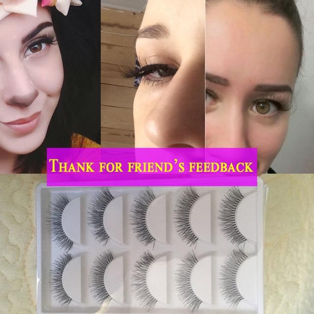 5 Paires Natural Black Long Clairsemée Croix Faux Cils Faux Cils Maquillage Des Yeux Extensions Outils 5