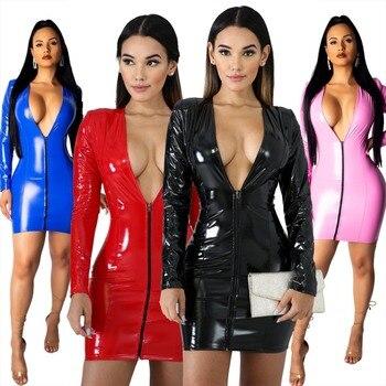 JRRY Women PU Leather Dresses Zippers Faux PU Leather Dress High Elasticity Sheath Dress Deep V Neck Faux Leather Short Dress