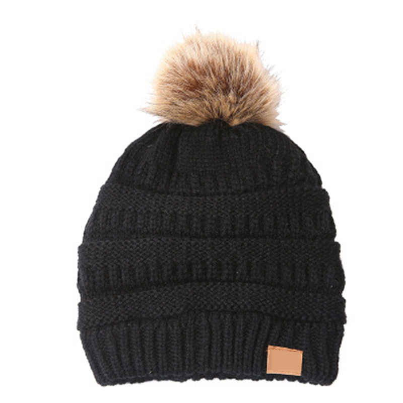 b0957dac1e148 ... New Woman Winter Hat Beanie Faux Fur Pom Pom Ball For Hats Knitted Cap  Skully Warm
