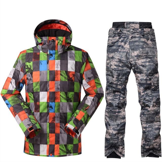 2018 NEW -30 Degree Warm Snowboarding Suits Men Winter Ski Suit Male  Waterproof 10000 Breathable Snow Jacket +Pant Ski Sets 2b2fae633