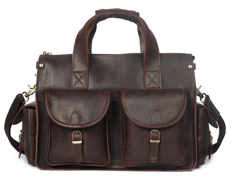 Nesitu Men Briefcase Portfolio Messenger-Bags Brown Vintage Genuine-Leather Thick Coffee