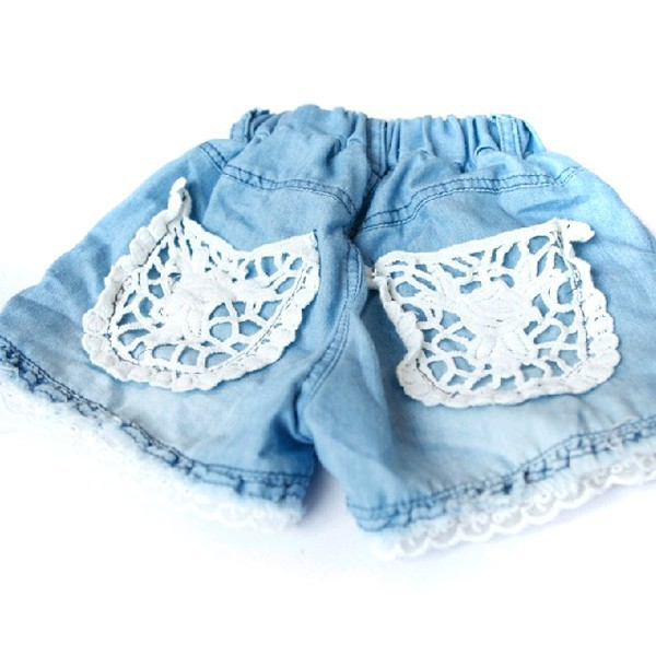 Arrival Baby Kids Girls   Shorts   Jeans Lace Pocket Demin Summer   Short   Pants