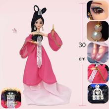 1 Set 30cm Chinese Traditional Beauty Cinderella Doll With Long Dress and Jewelry Girl Birthday Christmas