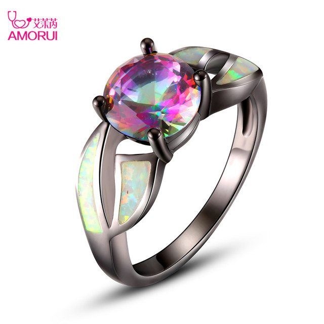 AMORUI Fashion Black Gold Color Colorful AAA Fire Opal Rings for women girl jewelry Wedding Party Cocktail Rainbow crysta rings