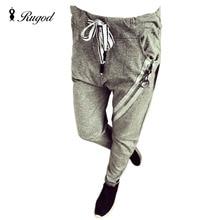 RUGOD Women Joggers Pants Pantalon Femme 2018 Autumn Pants Womans Pencil Pant Leggings Side Zipper Decoration Gray Trousers
