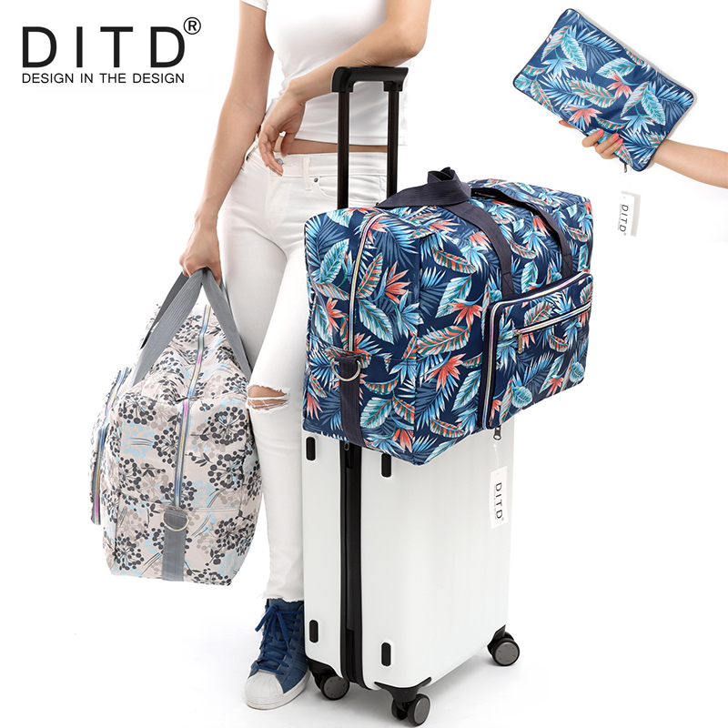 DITD Foldable Travel Bag Large Capacity Waterproof Luggage Bag Printing Bags Portable Feather Women's Tote Camping Bag 091