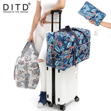 DITD Foldable Travel Bag Large Capacity Waterproof luggage bag Printing Bags Portable feather Womens Tote camping 091