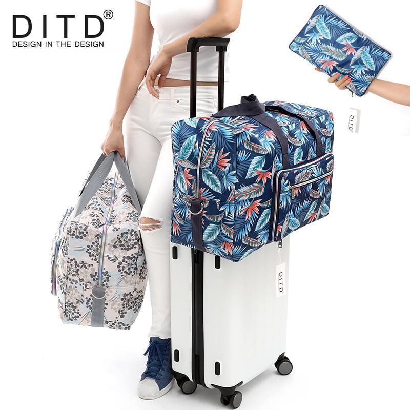 DITD Foldable Travel Bag Large Capacity Waterproof luggage bag Printing Bags Portable feather Women's Tote camping bag 091
