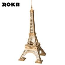 ROKR DIY 3D деревянные головоломки Эйфелева башня сборки модели дерево наборы для ремесла стол Декор игрушечные лошадки для детей TG501 прямая доставк