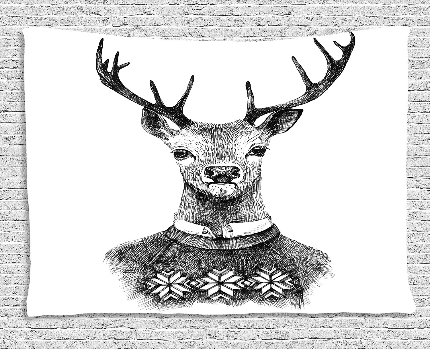 Indie Tapestry Hand Drawn Deer Portrait in a Nordic Style Knitted Sweater Hipster Christmas, Wall Hanging for Bedroom-in Tapestry from Home & Garden ...