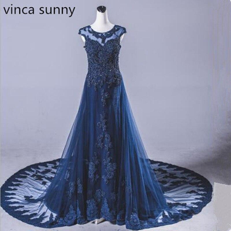 2019 Vestidos De Festa Long Elegant Evening   Dress   Tulle With Beaded Abendkleider Floor Length Robe De Soiree   Prom     Dress