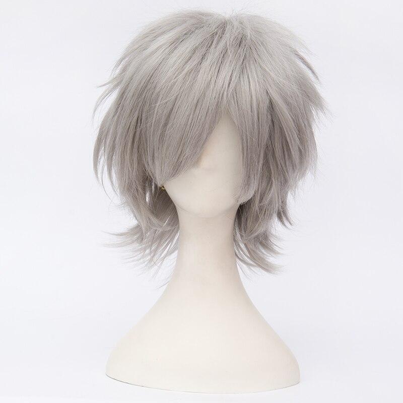 "anime hair 12"" short wavy silver"