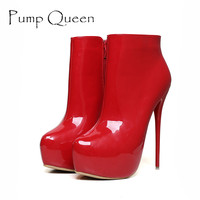 Mode Femmes Pompes Hauteur Plate-Forme Super Haute Talons Chaussures 16 CM Sexy Pompes Discothèque Partie Rouge Noir Blanc Plus La Taille 41-45