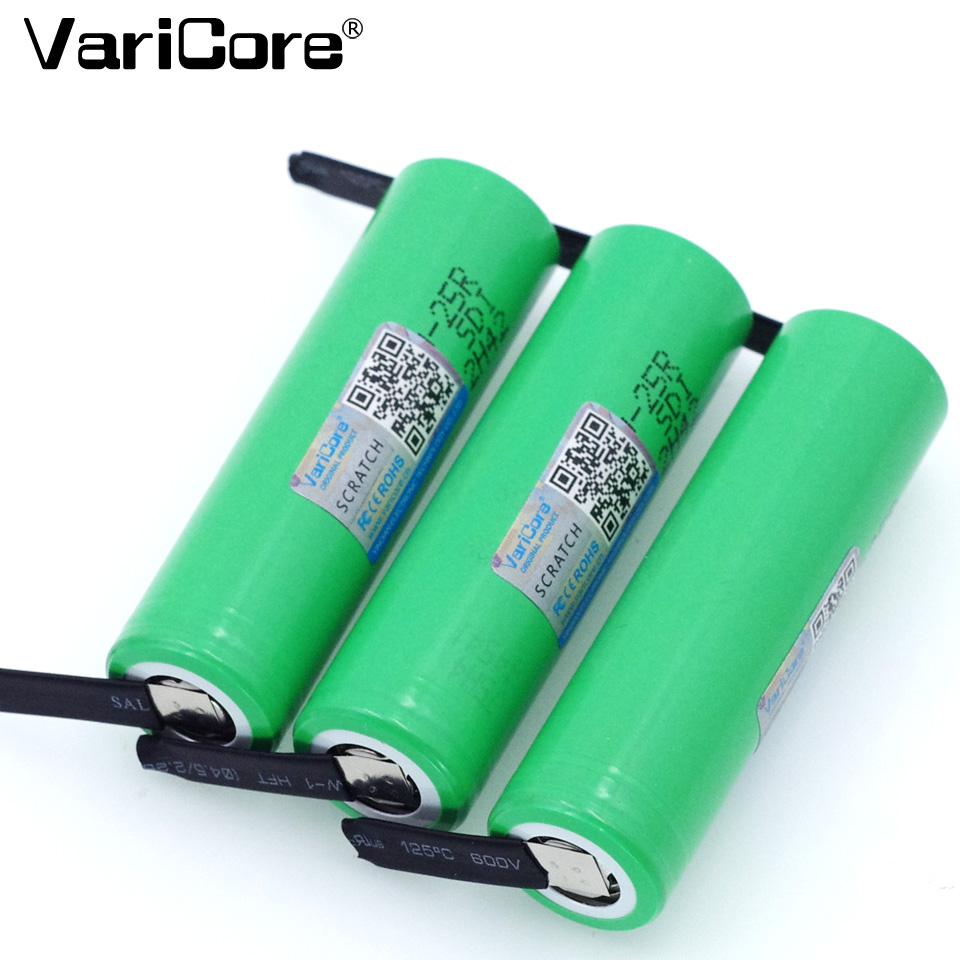 VariCore <font><b>18650</b></font> <font><b>25R</b></font> 2500mAh lithium battery <font><b>20A</b></font> continuous discharge power electronic battery for Samsung+DIY Nickel sheets image
