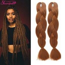 Ombre Colored Crochet 5Pcs 24inch 100g Box Braids Dark Brown Black Ombre Twist Crochet Tresses Synthetic Braid Hair Extension