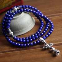 Top Grade 6MM Lapis Lazuli Genuine Tibetan Prayer Beads 108 Beads Buddhist Mala
