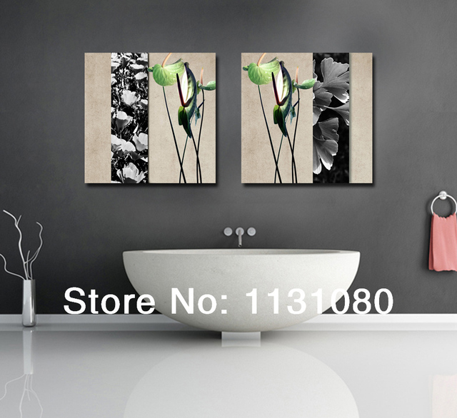 No frame canvas only 2 pieces plant and flower decor picture modern wall painting for bathroom