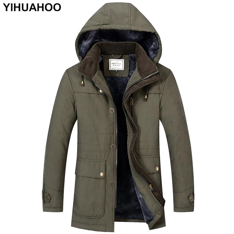 YIHUAHOO Winter Jacket Men Thick Warm   Parka   Coat Faux Fur Hooded Fleece Windproof Puffer Windbreaker Jacket Men 3XL 4XL FS-1612