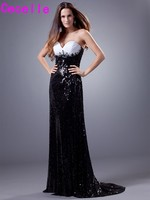 Black and White Long Sheath Evening Dresses 2017 Sweetheart Beaded Crystals Sequins Women Formal Night Evening Gowns Elegant