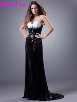 Schwarz und Weiß Lange Mantel Abendkleid Kleider 2017 Schatz-wulstige Kristalle Pailletten Frauen Formal Night Abendkleider Elegante