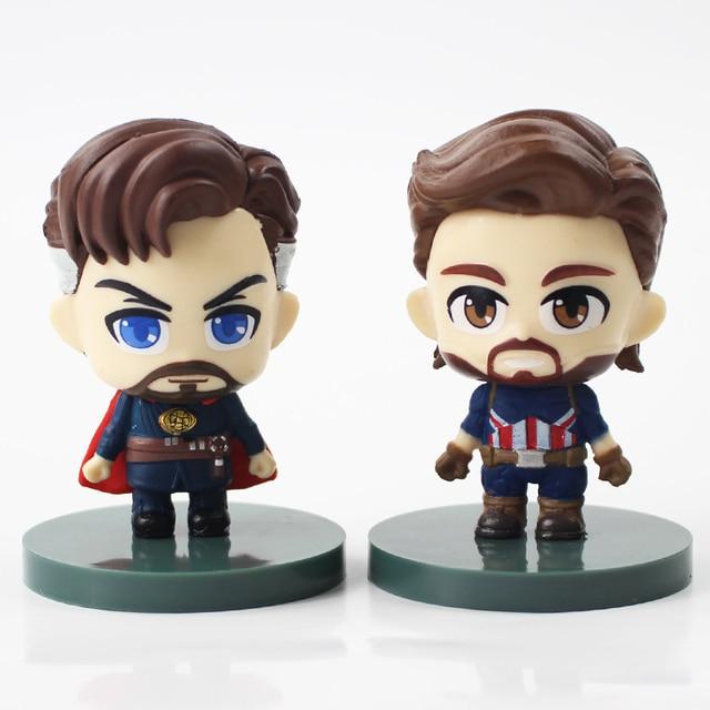 6cm 6pcs lot Marvel Avengers Q Version Thanos Hulk Spiderman Iron Man Doctor Strange Captain America