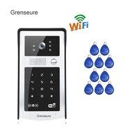 Free Shipping RFID Code Keypad Wireless Wifi 720P Video Intercom Door Phone Metal Doorbell For Phone