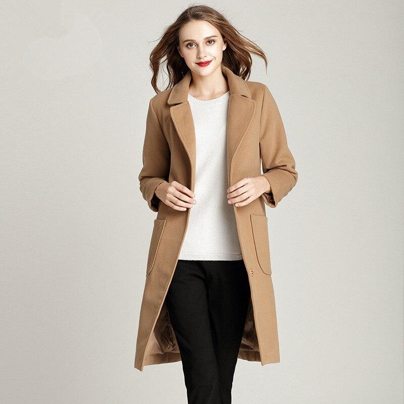Longue Laine et Mélanges Manteau Femelle Veste Mode Turn Col Solide M-5XL Plus La Taille Simple Lâche Hiver Manteau Femmes 2017 nouveau