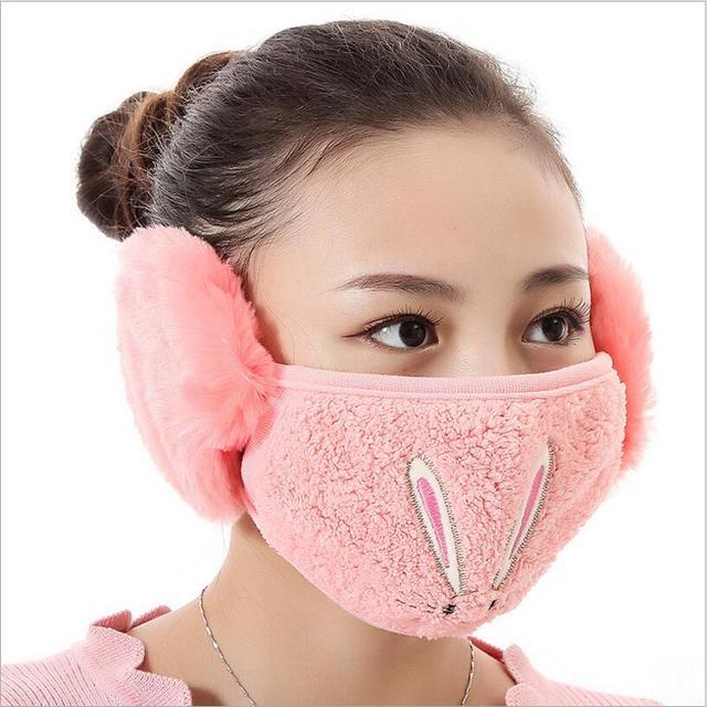 Cartoon rabbit design Ear protective mouth mask Windproof earmuff anti dust winter masks girls Anti Haze Flu cotton Face masks