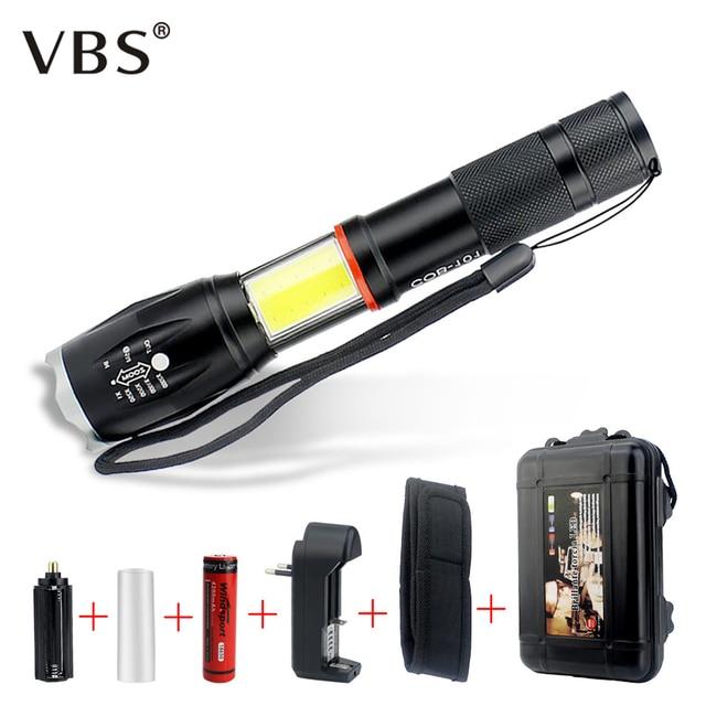 Powerful Waterproof LED Flashlight Portable LED Camping Lamp T6+COB Torch Lights Lanternas Self Defense Tactical Flashlight