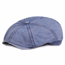 Classic Retro Berets Western Men Women Cotton Gastby Octagonal Flat Caps Vintage Washed Denim Beret for