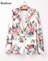 Baalmar Women Vintage Floral Print Blazer Notched Collar Sashes Long Sleeve Coat Casual Outerwear Feminine Tops