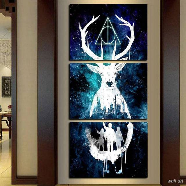 Modular Wall Art Hd Prints Pictures Home Decor 3 Pieces Harry Potter Canvas Paintings Abstract Animal
