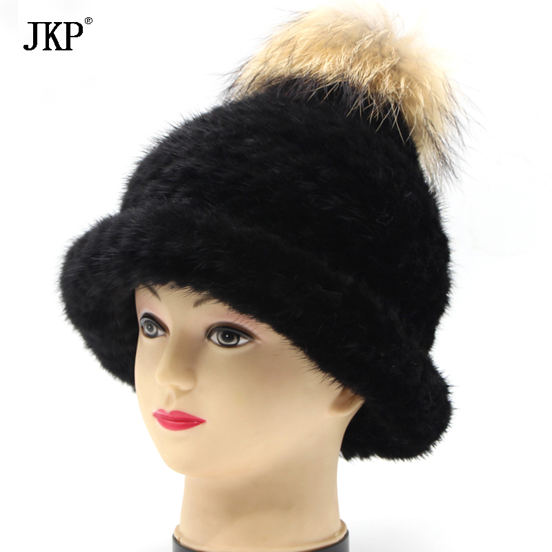купить JKP 2018 Natural Knit mink cap Hat Thicken Warm Winter Child Fur Thick Baby Girl girls and Boy Fur fashion Hat Promotion DHY-001 по цене 2995.61 рублей