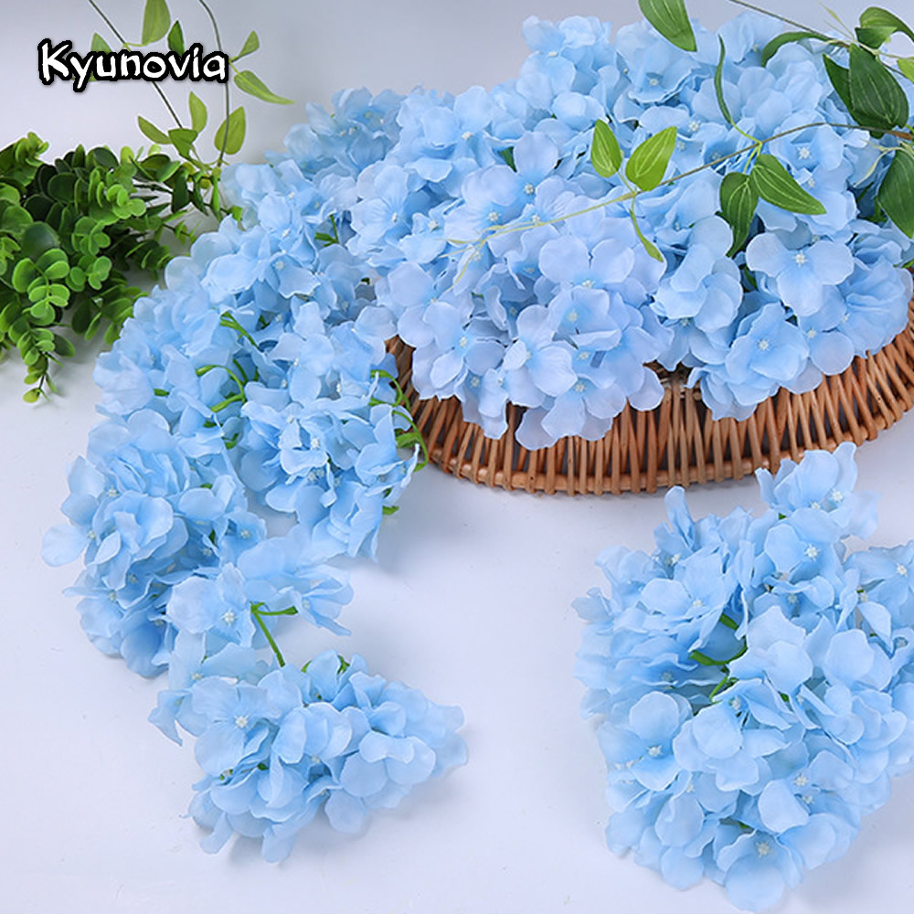 Kyunovia 10pcs DIY Artificial Silk hydrangea heads Home Flower for Wedding Party Birthday Decoration Table accessories KY32