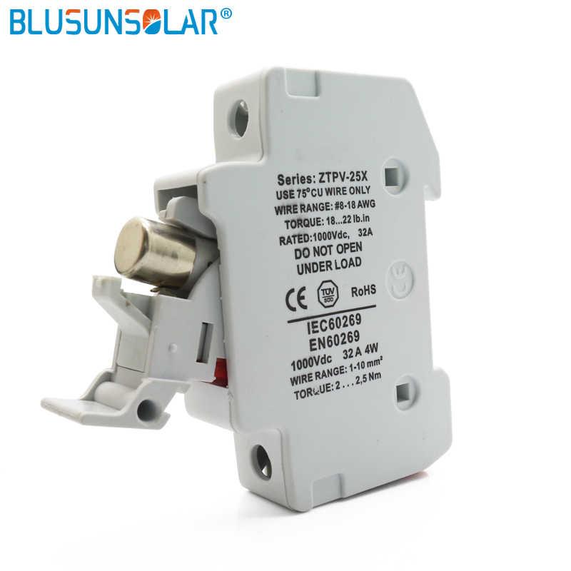 1 Set Solar Fuse Pemegang Cocok untuk 10*38 Mm PV Sekering Fuse Link dengan Lampu Indikator LED untuk Tata Surya Perlindungan