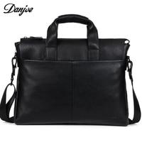 Men Genuine Leather Briefcase Real Leather Black Brown Men's Messenger Bag Shoulder Bag DANJUE Male Business Laptop Bag