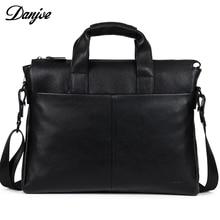 Genuine piele pentru bărbați negru negru Servieta reală din piele pentru bărbați Messenger Bag DANJUE naturale Soft Cowskin de sex masculin Laptop Bag de afaceri