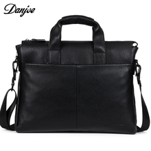 Genuine Leather Men Black Brown Briefcase Real Leather Men's Messenger Bag DANJUE Natural Soft Cowskin Male Business Laptop Bag