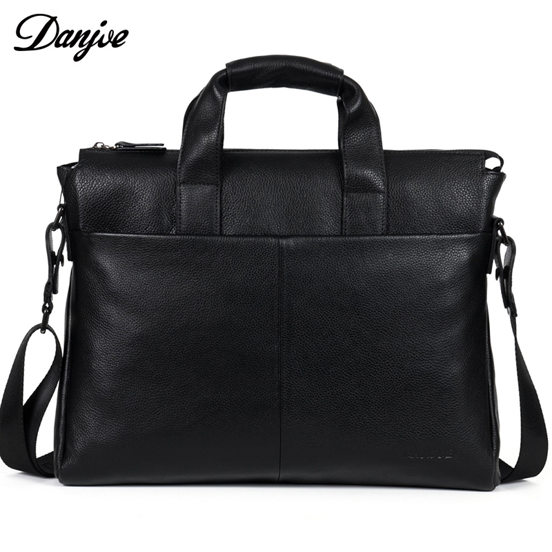 купить Men Genuine Leather Briefcase Real Leather Black Brown Men's Messenger Bag Shoulder Bag DANJUE Male Business Laptop Bag онлайн