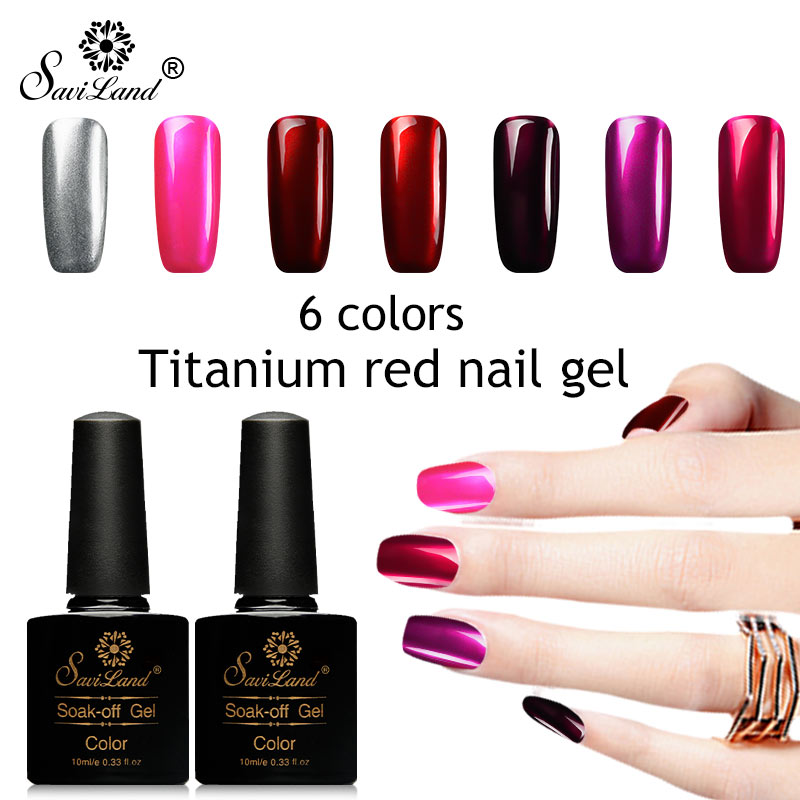 Saviland Titanium Red Color Series Gel Nail Polish Glitter Mirror Metal Gel Varnish Nail ...