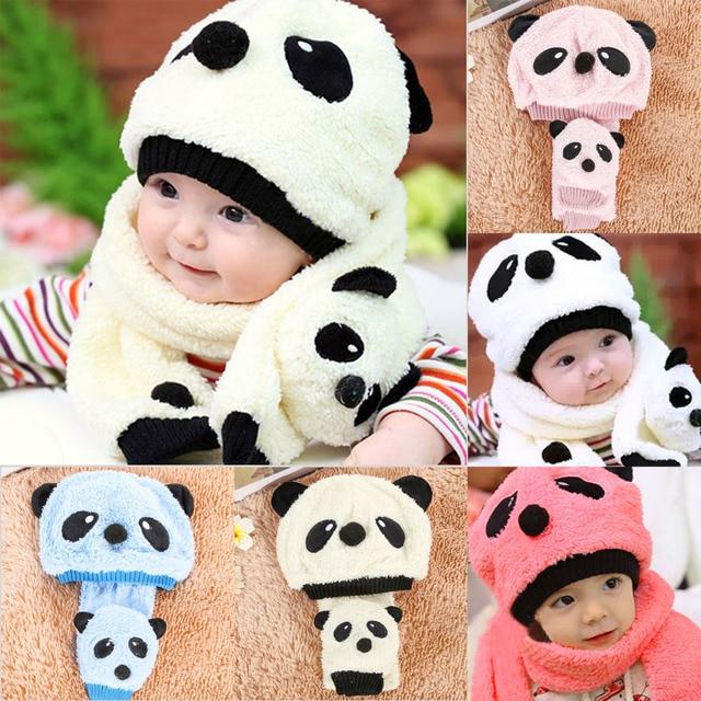 Детские зимние теплые шапки и шарф комплект для мальчиков и девочек милые  шапки в виде панды 08bc331656649