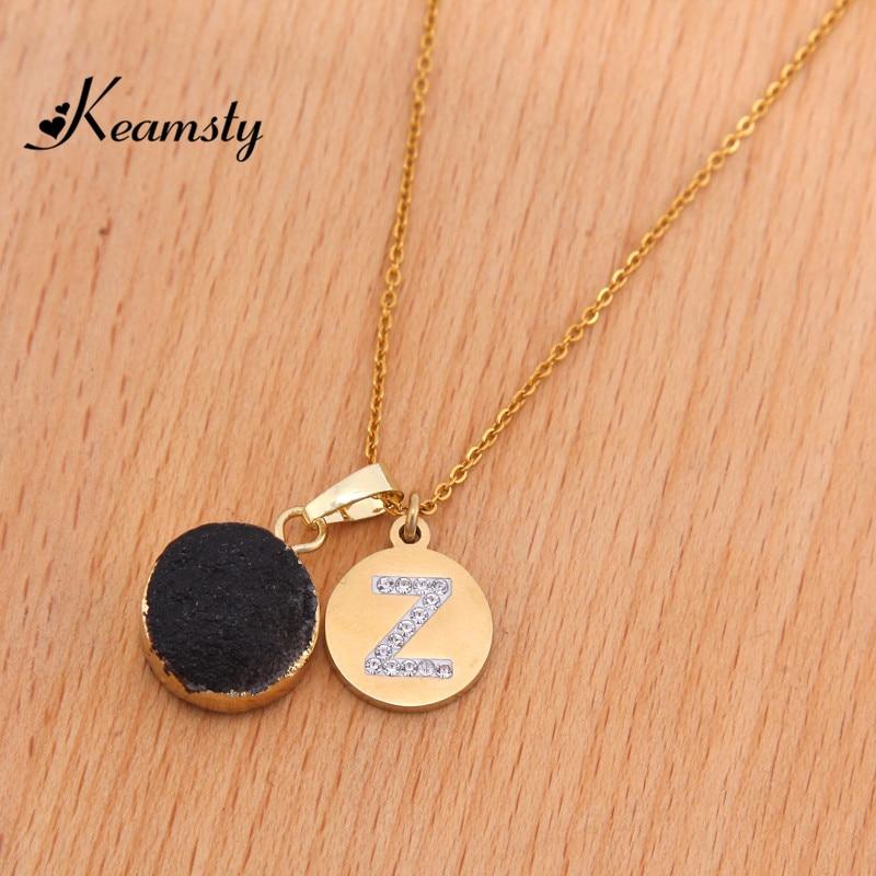 Keamsty Beautiful Nature Stone Black Spirit Quartz Druzy Gold Special Style Letter Initial Combination Necklace Set