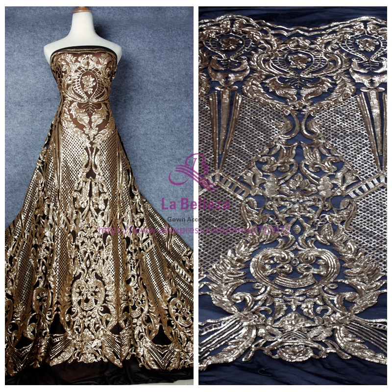 La Belleza 1Yard gold sequins on stretch net embroidered evening/wedding dress lace fabric 51'' with