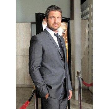 2017 Groomsmen Best Man Grey Men Suit For Wedding Formal Prom Blazer Latest Small Lapel Design 2Pieces(Jacket+Pants+Tie) 2017