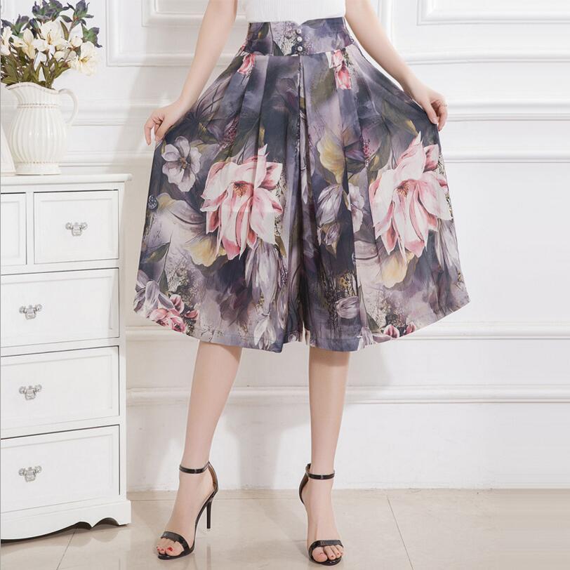 2019 Summer Fashion Women Wide Leg   Pants     Capris   Female High Waist Casual   Pants   Plus Size Chiffon   Pants   Women SK153