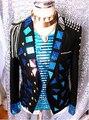 Новинка мужской черный блестки куртка заклепки погон кисточки бар сценическое шоу костюм ночной клуб Dj боди пиджак певица верхняя одежда