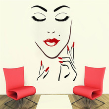 Hot Selling Beautiful Girl Salon Wall Decal Monroe Sexy Nail Polish Lip Gloss Decal Vinyl Wall Sticker Home Poster