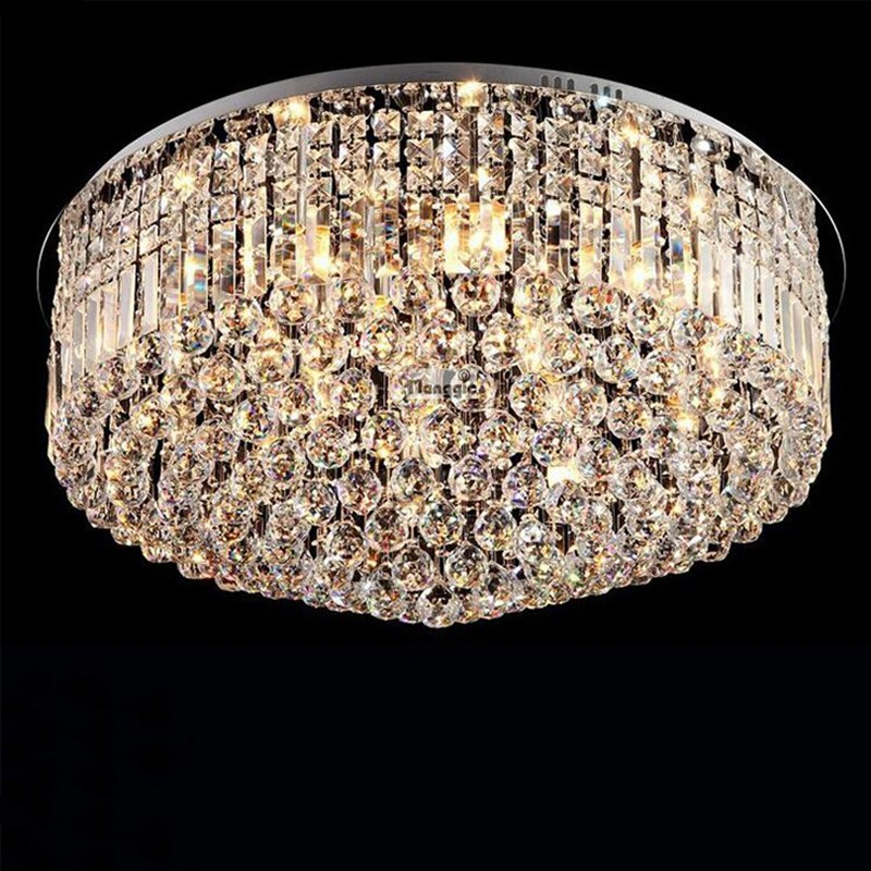Hot sale modern luxury k9 crystal ceiling lamp fashion crystal light living room hotel crystal lamp