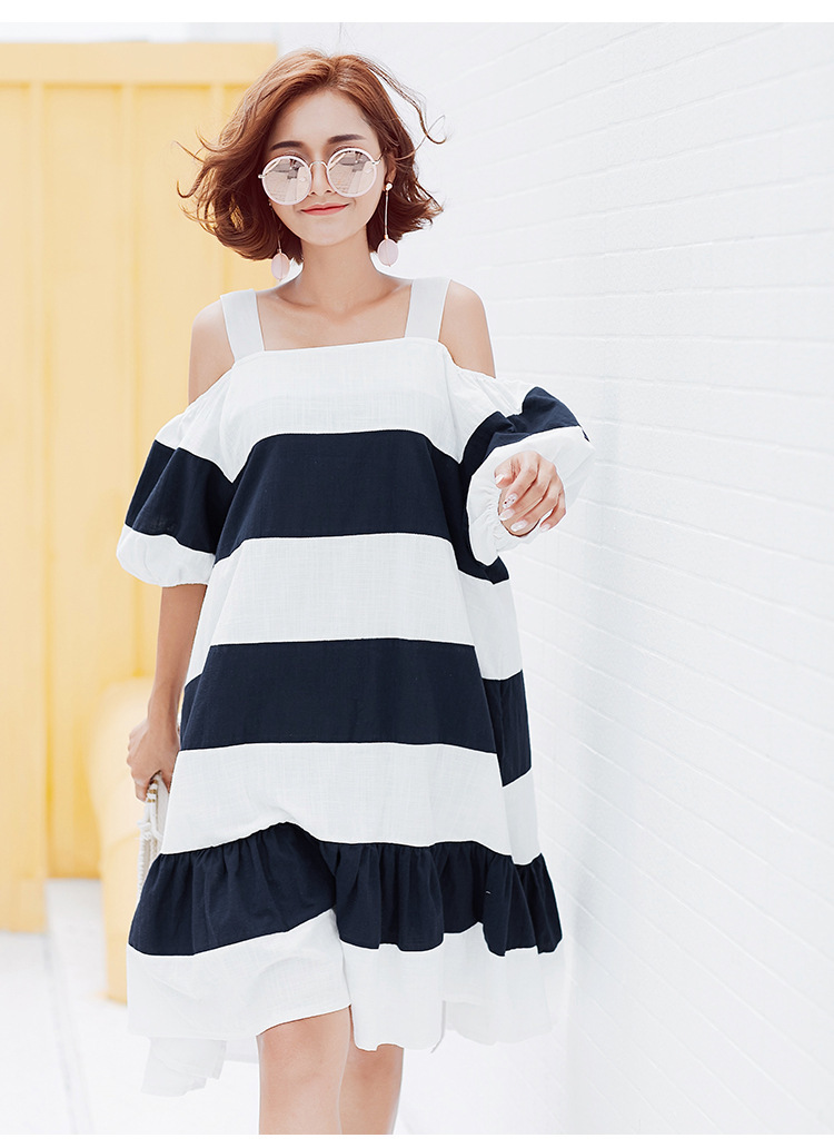 [GUTU] 2017 Summer fashion new slash neck large size hit color stripes bubble sleeves lotus leaf harness dress women V37417 5