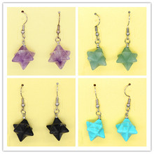 Kraft-beads Ethnic Style Silver Plated Lucky Star Amethysts Stone Earring For Women Anniversary Black Agates Jewelry